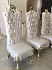 Custom King Queen Formal Satin shiny White leather Tufted dining Room Chairs