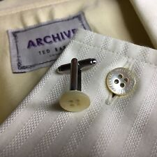MENS TED BAKER MOTHER OF PEARL CREAM SHIRT BUTTON SILVER PLATED CUFFLINKS + BAG