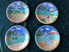DESSERT PLATES (4) Beach Themed CERAMIC Very Cute!