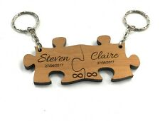 Personalised Infinity Jigsaw Keyrings Engraved Engagement Couples Love Gift
