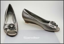 SANDLER WOMEN'S JEWELLED OPEN TOE WEDGED HEEL PEWTER SHOES SIZE 8.5 B NEW