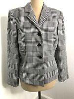 Jones New York Womens Blazer Houndstooth Black White Suit Jacket Size 6