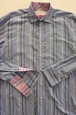 "TED BAKER ""ARCHIVE"" 100% EGYPTIAN COTTON BLUE STRIPED CUFFLINKS SHIRT sz 16.5"