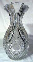 "Massive ABP BRILLIANT CUT GLASS CRYSTAL Bulbous Vase Hobstars 14"""