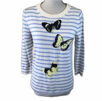 J.Crew Merino Wool Cream Blue Crew Neck Striped Butterfly Sweater Womens S