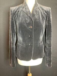 Coercion London Ladies Black Velvet Cotton  Jacket Size 12 (D4)