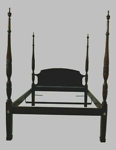 Antique Style Kittinger Mahogany Queen Size Poster Bed 90 Tall