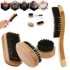 Natural Boar Bristle Beard Brush Mini Men Mustache Hair Shaving Facial Cleaning