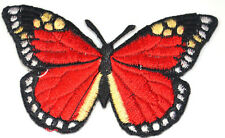 13cm BUTTERFLY RED ADMIRAL MOTH Embroidered Iron Sew On Cloth Patch APPLIQUE