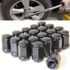 For Honda Toyota Mazda Lexus Silver 12X1.5MM Wheel Rim Black Lug Nut QTY = 20