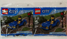 New! Lot of 2 LEGO City Blue Car 30349 Building Toy 47 pieces w/ Coupon