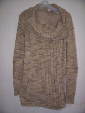 9a64ec0b300 New ANTHROPOLOGIE S Beige Brown Marled Tweed Cowl Neck Long Cardigan Sweater