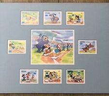 Grenada Disney Stamps Sports Baseball Serie Set of 9 Stamps Matted Ready To Fram