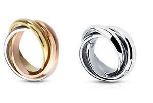 Damenring Verlobungsring Tricolor 3 Ringe in einem Triple Edelstahl NEU