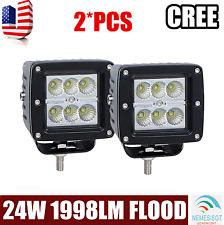 2x 3inch 24W Flood LED Work Light Bar Offroad 4WD Fog ATV SUV Driving Lamp Cube