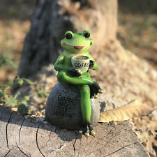 Frog on Stone Statue Drinking Coffee Garden Decoration Collectible Frog Figurine