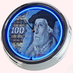 "N0674 Wall Clock Vintage "" German 100 DM Mark Bill "" Neonuhr Decoration Banknote"