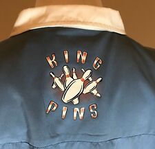 Pineapple Connection Bowling Shirt Mens Large Blue Cream Accents King Pins