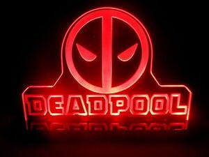 Multi-Color Dead Pool Mavel Super Hero LED Night Light Lamp Kids Room Comic Sign