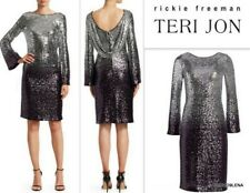 NWT TERI JON Long-Sleeve Sequin Cocktail Shift Dress Silver Purple Ombre Size 12