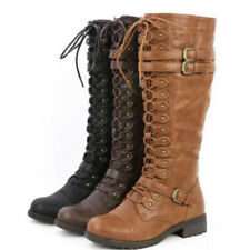 Fashion Women Knee High Lace Up Buckle Military Combat Boots Faux Leather Riding