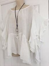 Stunning Lagenlook-Gypsy/frill Linen top-One Size-12- 16 -White