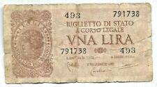 """banconota """"biglietto di stato a corso legale"""" del valore di una 1 lira"""