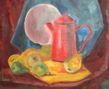 Expressionism Still Life Pears Teapot Vintage Oil Painting