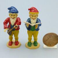 "Vintage Miniature Plastic Gnome Dwarf Figures Cake Topper Germany Mini 2"""
