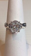 .925 Sterling Silver Oval Solitaire Engagement Ring - Size 7 - hm UTC  #5234