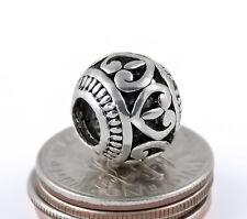 2PCs Openwork Tibetan Hearts Antique Silver Charm Spacer Beads