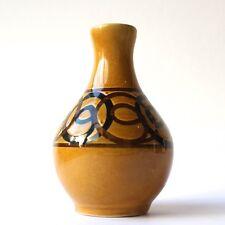 Vintage BRIXHAM Pottery Vase Mustard Glaze Brown Swirl Design  H 15.5 cm 1960/70