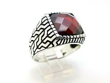 925 STERLING SILVER HANDMADE RED RUBY MEN'S TURKISH OTTOMAN RING SIZE 12.25 USA