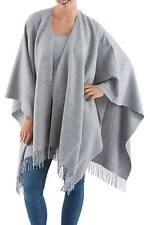 Lush 100% Alpaca Wool Ruana Cloak Light Gray Soft & Warm NOVICA Peru
