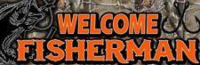 Welcome Fisherman Fishing Bait Shop Vinyl Banner Sign 2 x 6'