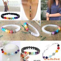 1pcs Hot 7 Chakra Healing Beaded Bracelet Natural Lava Stone Diffuser Jewelry