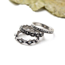 New Heirloom Crystal Stackable Ring White Opal Vintage Silver Jewelry 3pc Set