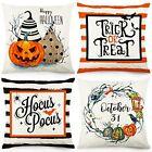 Stripes Pumpkin Wreath Halloween Pillow Covers 18x18 Set of 4 Throw Pillowcase