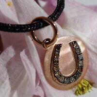 Brillant Anhänger in 750er Rosegold Hufeisen 0.10 ct braune Diamanten