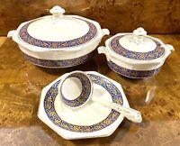 Antique Imperial Porcelain Wedgewood & Co England Tureen Set Ladle Dish Lid