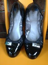 Tahari Size 7.5 Glenda Style Ballet Flat Black Leather