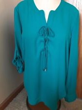 WOMENS LARGE teal NY&CO convertible sleeve polyester BLOUSE top SHIRT EUC!!
