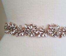 "Wedding Dress Sash Belt -  Light Rose Gold Crystal Wedding Sash Belt = 18"" long"