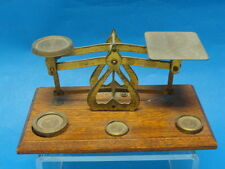 Antique English Postal Scale Brass with Wood Platform