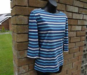 Womans SEASALT Organic Cotton Sailor Shirt Breton Striped Top Size 10 / 12