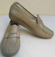 SAS Womens Beige Size 7.5 N Wedges Leather Mocha Loafers USAShoes