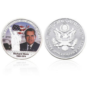 Richard Milhous Nixon American 37th President Coin Silver Plated Challenge Coin