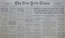9-1930 September 30 DEMOCRATS PROHIBITION WET PLANK DECLARATION DR CARROLL DRY