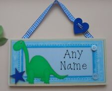 Personalised Childrens Plaque Kids Name Door Sign Childs Bedroom Dinosaur Blue