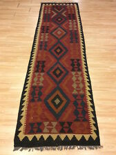 Genuine Afghan Handmade Rustic Maimana Wool Kilim XL Runner Rug 82x290cm 50 off